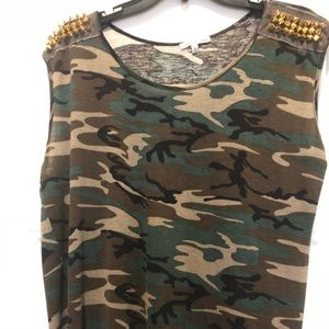 Charlotte Russe Camouflage high low tank top